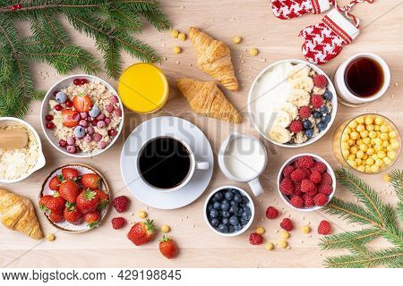 Healthy Breakfast Set On Wooden Background. The Concept Of Delicious And Healthy Food. Mix Nuts, Hon