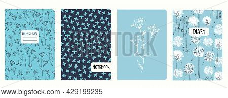 Cover Page Templates Based On Patterns Dandelion Flowers, Inflorescence, Crosses. Headers Isolated,