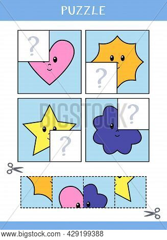 Puzzle For Kids. Find The Missing Parts Of The Picture. Simple Educational Game. Cut And Glue. Vecto