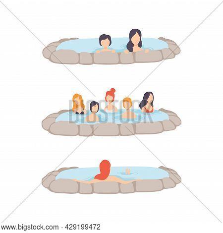 People Characters Enjoying Outdoor Thermal Spring Relaxing In Hot Water Vector Set