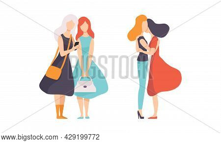Female Friend Spending Time Together Embracing And Walking Vector Set