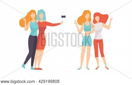 Female Friend Spending Time Together Taking Selfie And Embracing Vector Set