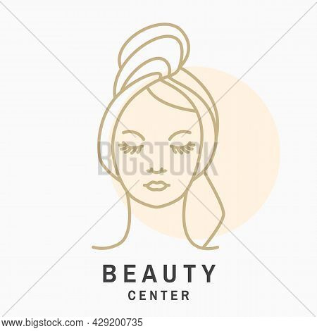 Woman Face For Logo, Label, Badge, Emblem. Pretty Lady Wrap Towel. Beauty Center Sign For Cosmetics,