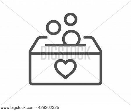Donate Money Box Line Icon. Fundraising Box Sign. Donation Coin Symbol. Quality Design Element. Line