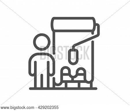 Painter Line Icon. Paint Brush Roller Sign. Professional Artist Symbol. Quality Design Element. Line