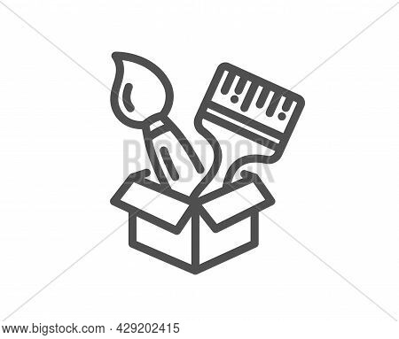 Paint Brush Line Icon. Wall Paintbrush Box Sign. Creative Drawing Art Symbol. Quality Design Element