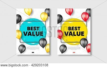 Best Value Text. Flyer Posters With Realistic Balloons Cover. Special Offer Sale Sign. Advertising D