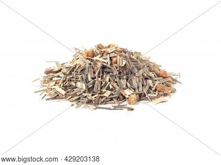 Herbal Tea Heap With Lemongrass, Ginger And Dry Fruits Isolated On White Background