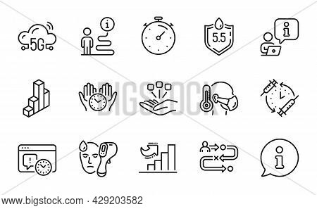 Science Icons Set. Included Icon As Journey Path, Timer, Electronic Thermometer Signs. Safe Time, Gr