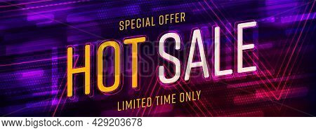 Website Header Modern Design With Hot Sale Special Offer. Creative Trendy Promotion Banner With Reba