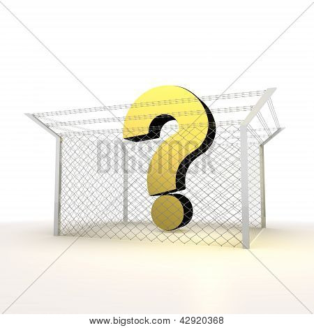 isolated metallic arrested question 3d  symbol