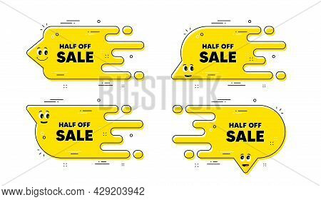 Half Off Sale. Cartoon Face Transition Chat Bubble. Special Offer Price Sign. Advertising Discounts