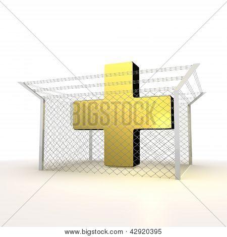 Isolated metallic locked cross 3d  symbol