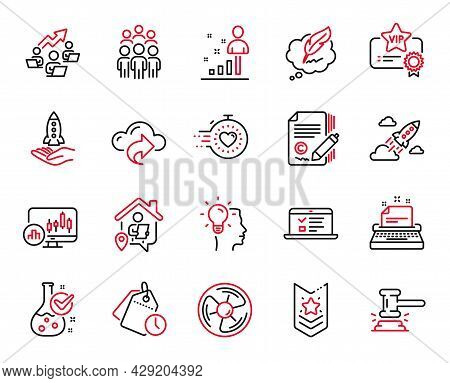 Vector Set Of Education Icons Related To Idea, Stats And Copywriting Icons. Group People, Copyright