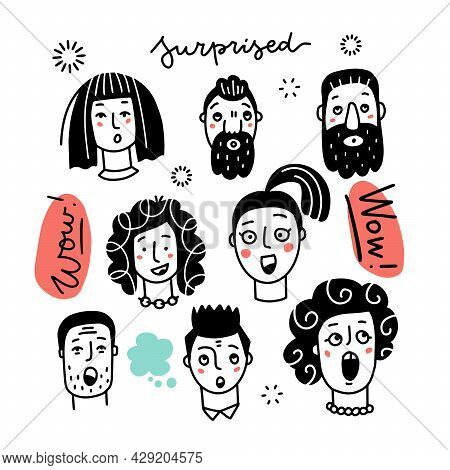 Set Of Various Surprised Women And Men, Mixed Age And Ethnic Groups Expressing Amazed Emotions. Hand