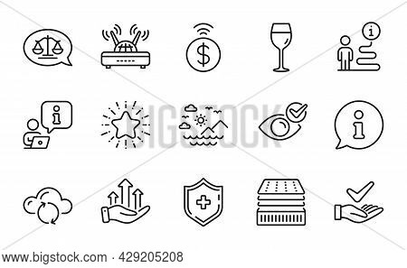 Line Icons Set. Included Icon As Sea Mountains, Check Eye, Cloud Sync Signs. Deluxe Mattress, Wine G