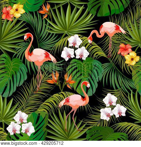 Pattern With Leaves And Flamingos.palm Leaves, Tropical Flowers And Flamingos On A Black Background