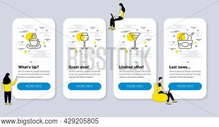 Set Of Food And Drink Icons, Such As Bordeaux Glass, Martini Glass, Tea Cup Icons. Ui Phone App Scre