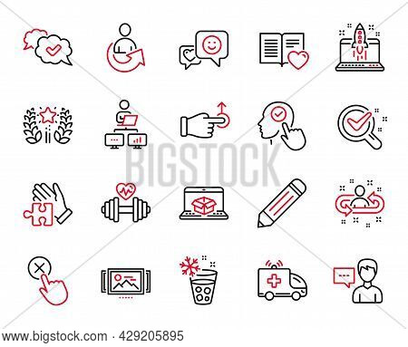 Vector Set Of Business Icons Related To Online Delivery, Smile And Recruitment Icons. Chemistry Lab,
