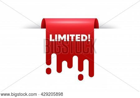 Limited Text. Red Ribbon Tag Banner. Special Offer Sign. Sale Promotion Symbol. Limited Sticker Ribb