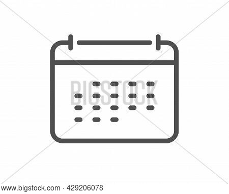 Calendar Line Icon. Annual Planner Sign. Event Schedule Symbol. Quality Design Element. Linear Style
