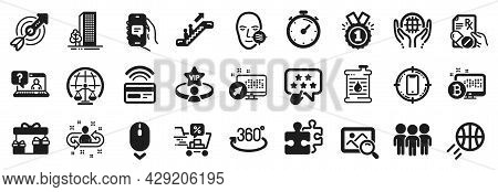 Set Of Business Icons, Such As Approved, Prescription Drugs, Organic Tested Icons. Full Rotation, Sc