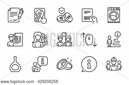 Business Icons Set. Included Icon As Wedding Rings, Savings Insurance, Recovery Hdd Signs. Couple Lo