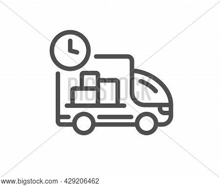 Delivery Line Icon. Truck Service Sign. Express Shipment Symbol. Quality Design Element. Linear Styl