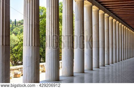 Panorama Of Classical Building Like Academy In Ancient Agora, Athens, Greece. Perspective View Insid