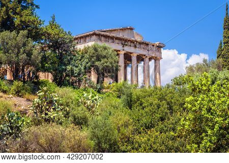 Temple Of Hephaestus In Athens, Greece. Scenic View Of Old Greek Agora In Summer. This Place Is Famo