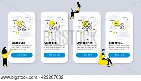 Set Of People Icons, Such As Business Hierarchy, Employee Hand, Group People Icons. Ui Phone App Scr