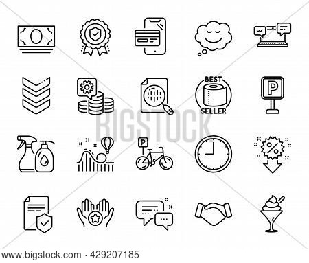 Vector Set Of Handshake, Favorite And Insurance Policy Line Icons Set. Bicycle Parking, Cleaning Liq