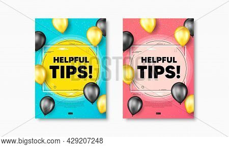 Helpful Tips Text. Flyer Posters With Realistic Balloons Cover. Education Faq Sign. Help Assistance