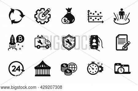 Vector Set Of Cogwheel Timer, Time Management And User Call Icons Simple Set. Carousels, Car Service