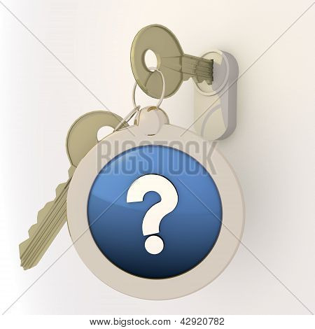 Locked unlocked question mark icon on key pendant