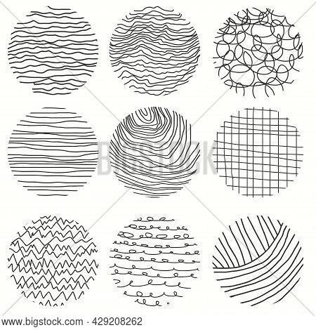 Paint Brush Set. Hand Drawn Doodle Shapes. Vector