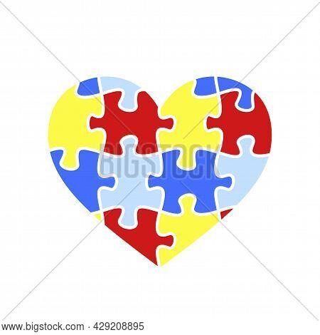 Child Autism Awareness Icon. Puzzle Heart Shape Icon.