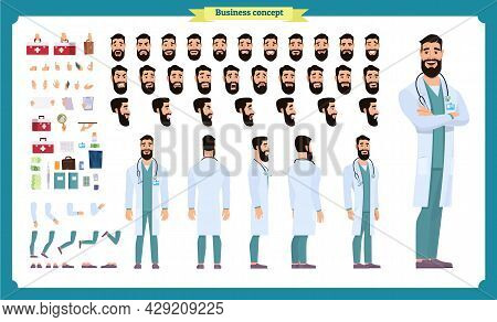 Front, Side, Back View Animated Character. Doctor Character Creation Set With Various Views, Face Em