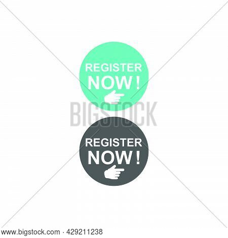 Register Now Icon Logo Button Template