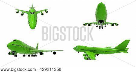 3d Illustration. Large Passenger Aircraft Of Large Capacity For Long Transatlantic Flights