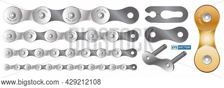 Set Of Realistic Bicycle Chain Isolated Or Bicycle Chain Gear Pattern Or Roller Chain Bike Or Bike T