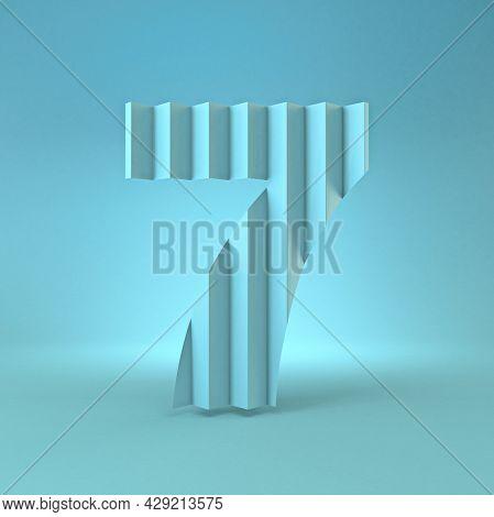 Cold Blue Font Number 7 Seven 3d Render Illustration On Blue Background
