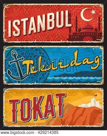 Istanbul, Tekirdag And Tokat Turkey Il, Provinces Plates, Vintage Vector Banners Of Touristic Turkis