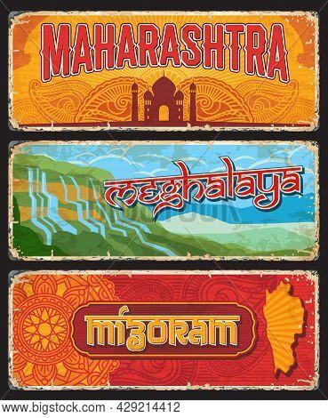 Maharashtra, Meghalaya And Mizoram Indian States Vintage Plates Or Banners. Vector Travel Destinatio