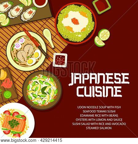 Japanese Food Cuisine, Asian Menu Cover, Vector Japan Oden Bowl Meals With Rice, Ramen And Udon Nood