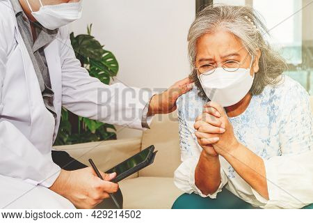 Male Psychiatrist Caring For Elderly Women With Mental Disorders, Paranoia, Anxiety, Depression, Anx