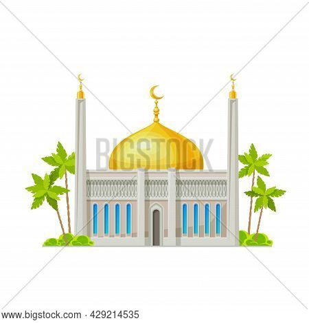 Muslim Mosque Building Icon. Islam Religion Temple, Arabian Culture Architecture Cartoon Vector Buil