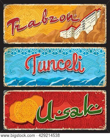 Trabzon, Tunceli And Usak Turkey Il, Provinces Plates, Vector Banners Of Touristic Turkish Landmarks