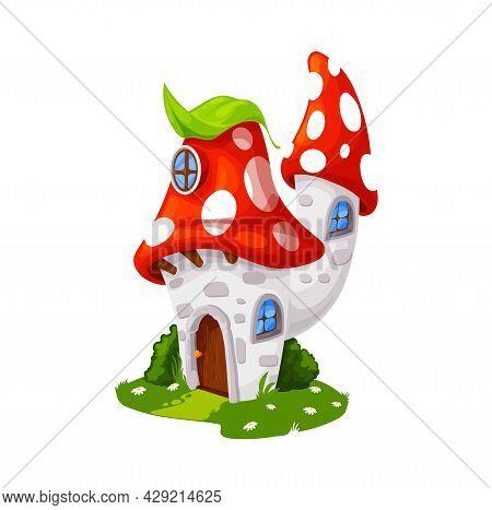 Fairytale Amanita Mushroom House, Cartoon Vector Building, Gnome Dwelling. Fly Agaric Fairy Tale Elf