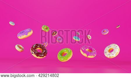 Modern Banner For A Candy Store, 3d Illustration. Donut With Chocolate Icing And A Three-dimensional